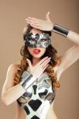 Futurism. Robotic Woman in Cosmic Mask and Metallic Stagy Costume Gesturing — Stock Photo