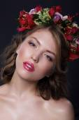 Portrait of Adorable Woman with Garland of Flowers — Stock Photo