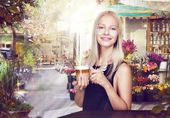 Refreshment. Happy Woman with Cup of Coffee in a Street Cafe — Stock Photo