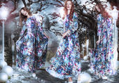Inspiration. Fantasy. Women in Flowery Dresses among Trees — Foto de Stock