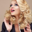 Astonishment. Surprised Blond Woman Looking Up — Stock Photo #58247817