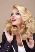 Astonishment. Surprised Blond Woman Looking Up — Stock Photo