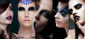 Beauty Collage. Women with Unusual Makeup — Stock Photo