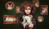 Eccentric Shaggy Woman with Pet - Little Puppy — Stock Photo