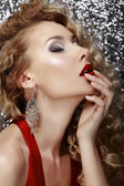 Profile of Sensual Woman over Silver Background — Stock Photo