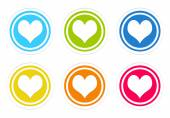 Set of rounded colorful icons with heart symbol — Стоковое фото