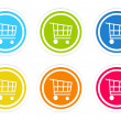 Set of rounded colorful icons with shopping cart symbol — Stock Photo #54702113