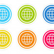 Set of rounded colorful icons with world symbol — Stock Photo #54702351
