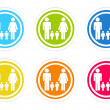Set of rounded colorful icons with family symbol — Stock Photo #54702613