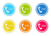 Set of rounded colorful icons to symbolize attention 24 hours — Foto Stock