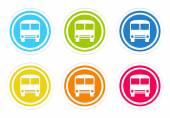 Set of rounded colorful icons with bus symbol — ストック写真