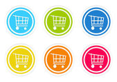Set of rounded colorful icons with shopping cart symbol — Стоковое фото