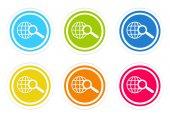 Satz der abgerundeten farbigen Ikonen mit Suchsymbol — Stockfoto