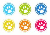 Set of rounded colorful icons with pet footprints symbol — Stock Photo