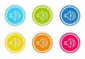 Set of rounded colorful icons with speaker symbol — Stock Photo