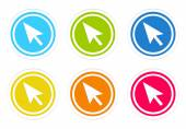 Set of rounded colorful icons with arrow symbol — Foto Stock