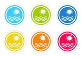 Set of rounded colorful icons with beach symbol — Stockfoto