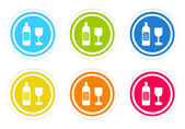 Set of rounded colorful icons with drink symbol — Stock Photo