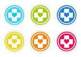 Set of rounded colorful icons with medical symbol — Stock Photo