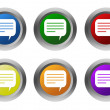 Set of rounded colorful buttons with conversation symbol — Stock Photo #58909423