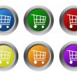Set of rounded colorful buttons with shopping cart symbol — Stock Photo #58909871