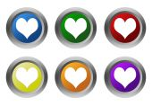 Set of rounded colorful buttons with heart symbol — Fotografia Stock
