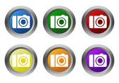 カメラのマークと丸いカラフルなボタンを設定します。 — ストック写真
