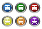 Set of rounded colorful buttons with bus symbol — 图库照片