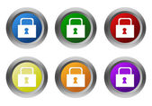 Set of rounded colorful buttons with lock symbol — Stock Photo
