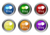 Set of rounded colorful buttons with blog symbol — Stock Photo