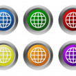 Set of rounded colorful buttons with world symbol — Stock Photo #58910151