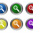 Set of rounded colorful buttons with search symbol — Stock Photo #58910281