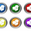 Set of rounded colorful buttons with bubble speeches symbol — Stock Photo #58911053