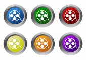 Set of rounded colorful buttons with movie symbol — Stock Photo