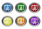 Set of rounded colorful buttons with presentation symbol — Stock Photo
