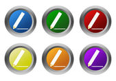 Set of rounded colorful buttons with pencil symbol — Stockfoto