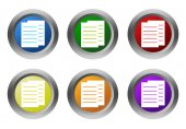 Set of rounded colorful buttons with documents or news symbol — Stockfoto