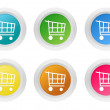 Set of rounded colorful buttons with shopping cart symbol — Stock Photo #60059749