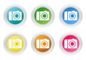 Set of rounded colorful buttons with camera symbol — Stock Photo