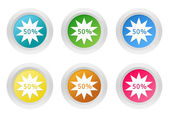 Set of rounded colorful buttons with discount symbol — Stock Photo