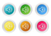 Set of rounded colorful buttons with speaker symbol — Stock Photo
