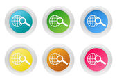 Set of rounded colorful buttons with search symbol — Stock Photo