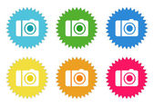 Set of colorful stickers icons with camera symbol — Stock Photo