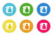 Set of colorful stickers icons with address book symbol — Stock Photo