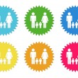 Set of colorful stickers icons with family symbol — Stock Photo #63164183