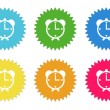 Set of colorful sticker icons with alarm clock symbol — Stock Photo #63164553