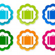 Set of colorful stickers icons with luggage symbol — Stock Photo #63165161