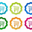 Set of colorful stickers icons with shopping cart symbol — Stock Photo #63165177