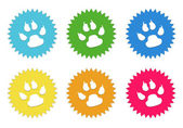Set of colorful stickers icons with pet footprints symbol — Foto de Stock