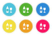 Set of colorful stickers icons with drink symbol — Stock Photo